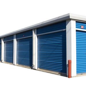 storage units blue white background